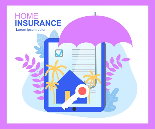 Home insurance contract sign umbrella protection house key