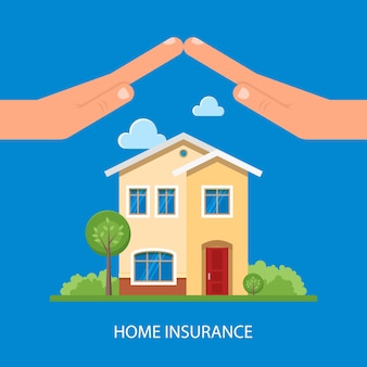 Home insurance illustration in flat style