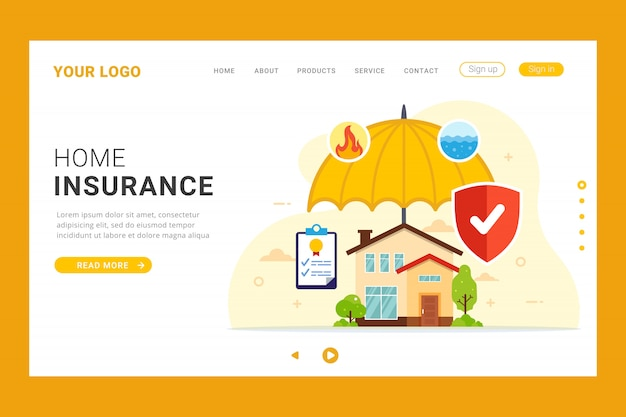 Home insurance landing page template