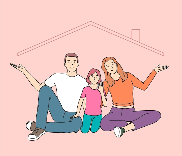 Home insurance metaphor, happy childhood memories. parents and kid playing together, children enjoying common pastime, leisure activities with mom and dad