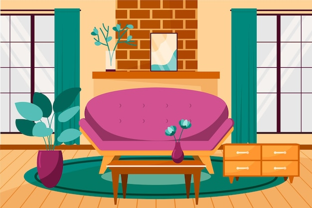 Home interior background for conferencing