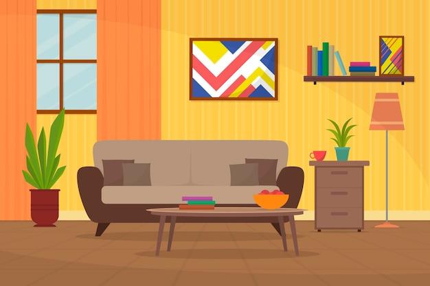 ビデオ会議のコンセプトのホームインテリアの背景