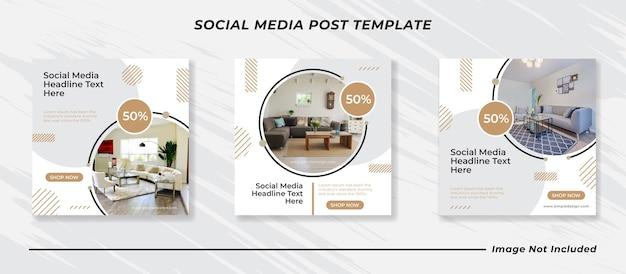 Home interior banner instagram post template
