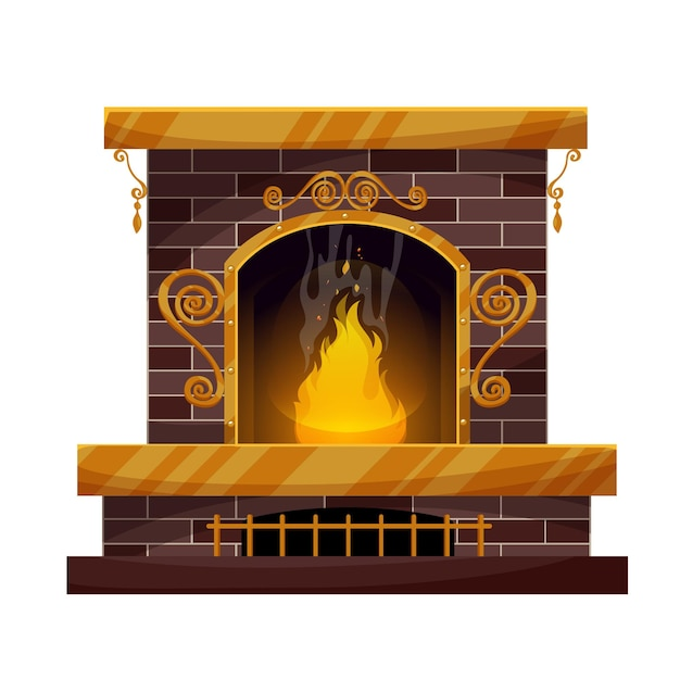 Home interior brick fireplace with burning fire, forgery decor and grating