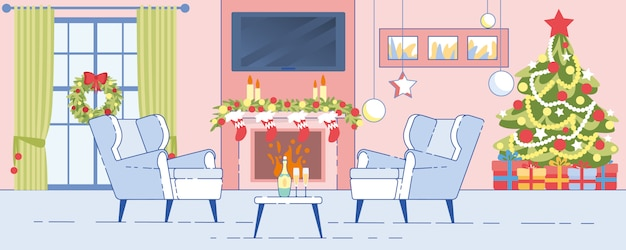 Home interior christmas decoration flat vector