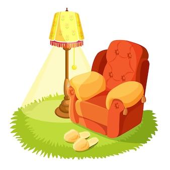 ホームインテリアデ。クッション、黄色のトーチ、白で隔離された丸い草のテキスタイルラグを備えた居心地の良いアームチェア。カーペットの上の家のスリッパ。屋内の家の設計。ヴィンテージ家具。図