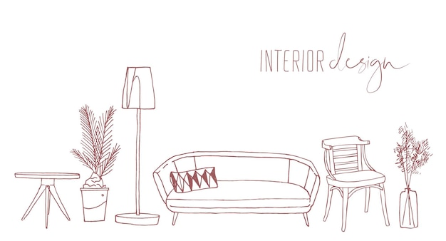 Home interior design elements hand drawn vector illustration. trendy retro style apartment furnishing sketch drawing isolated on white background. vintage living room furniture, sofa, chair and lamp.