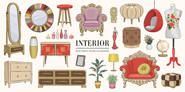 Home interior elements set