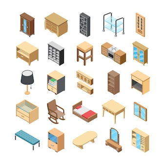 Home interior flat icons