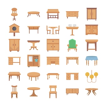 Home interior flat vector icons