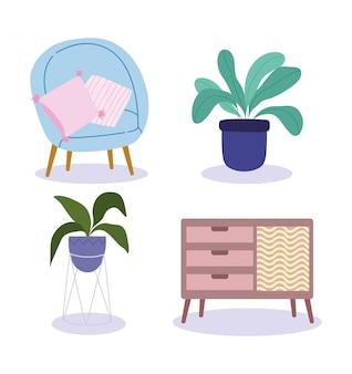 Домашний интерьер мебель витрина кресло подушка и горшечные растения иконки