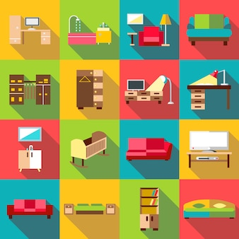 Home interior icons set, flat style