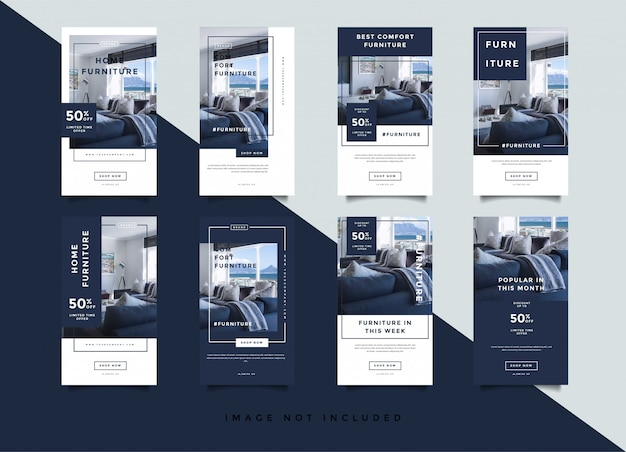 Home interior instagram stories promotion template