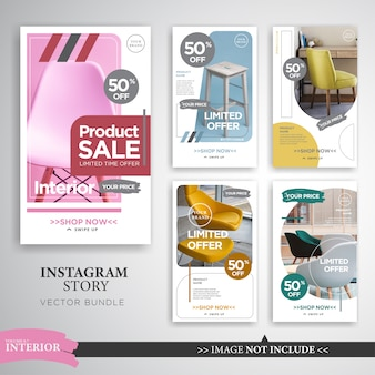 Home interior instagram stories template