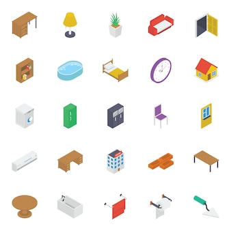 Home interior isometric icons pack