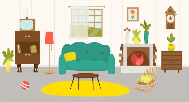 ホームインテリアリビングルーム家具ベクトルイラスト家ソファランプ装飾暖炉デザイン..。