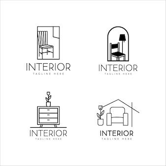 Дизайн логотипа домашнего интерьера и мебель в монолинии на съемочной площадке