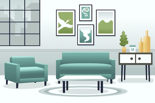 Home interior wallpaper for video conferencing