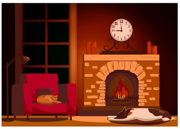 벽난로, 안락 의자 및 애완 동물이있는 홈 인테리어