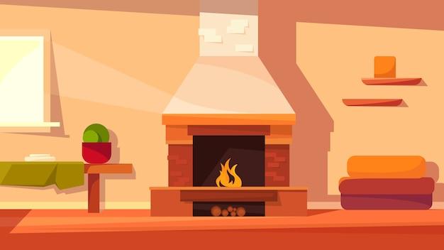 Домашний интерьер с камином. уютная локация в мультяшном стиле.
