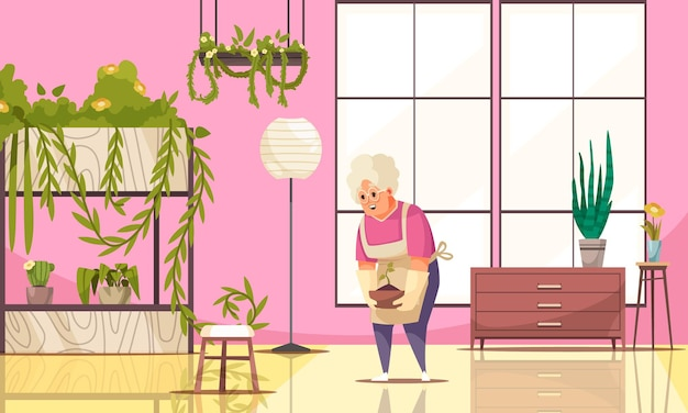 観葉植物と鉢植えのフラットイラストを栽培している年配の女性と家のインテリア