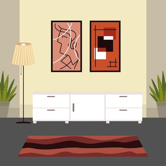 Home interior with pictures and carpet