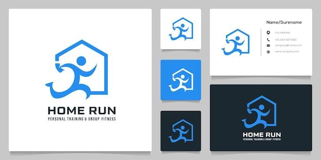 住宅投資ランナーロゴデザインの簡単なイラスト