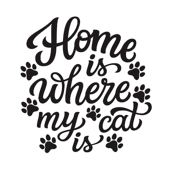 Home is where my cat is, lettering