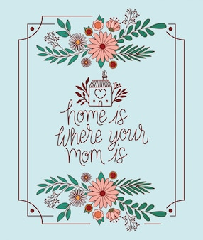 Home is where you mom is text with flowers and leaves frame