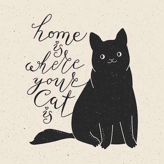 Дом там, где твоя кошка. милый кот и цитата. модный хипстер рисованной стиль иллюстрации