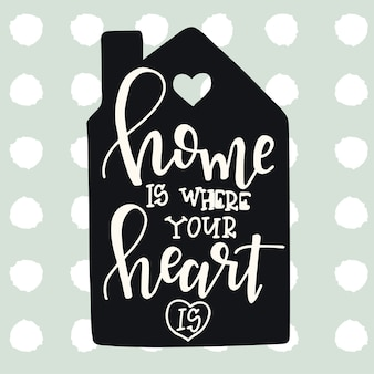 Home is where your heart hand drawn typography poster. conceptual handwritten phrase home and family
