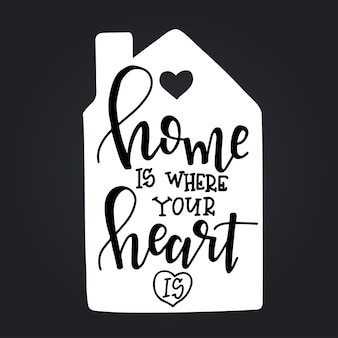 Home is where your heart is hand drawn typography poster. conceptual handwritten phrase, hand lettered calligraphic design.