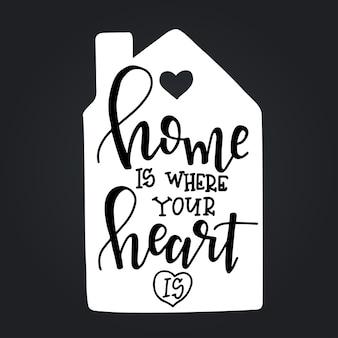 집은 당신의 마음이 손으로 그린 타이포그래피 포스터입니다. 개념적 필기 구 가정 및 가족, 손으로 글자 붓글씨 디자인. 문자 쓰기.