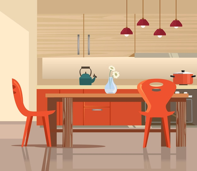 Домашняя кухня интерьер иллюстрации шаржа