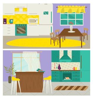 ホームキッチンのインテリア、ベクトルイラスト。モダンな家具デザイン、家のアパートの装飾が施されたフラットルーム。ダイニングテーブル、椅子のコレクション、フラット冷蔵庫、ストーブ設備。