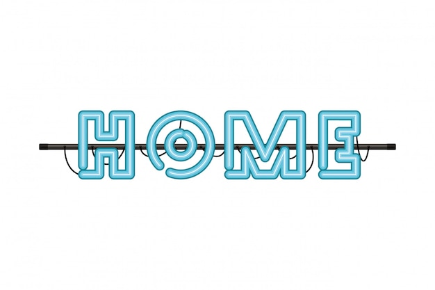 Home label in neon light isolated icon