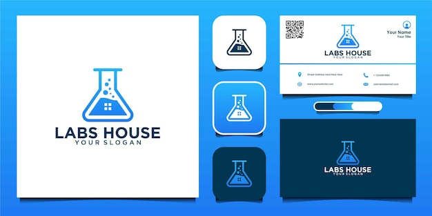 Home laboratory logo design and business card premium vector
