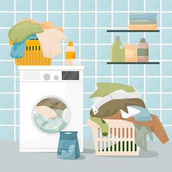집 세탁 개념. 세탁 바구니, 세제 및 수건이있는 세탁기가 있습니다. 세척 및 청소 개념. 플랫