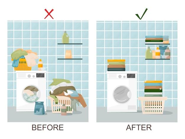 집 세탁 개념. 세탁 바구니, 더러운 린넨, 세제 및 수건이있는 세탁기. 그리고 깨끗한 린넨과 청결한 깨끗한 욕실. 세척 및 청소 개념. 플랫