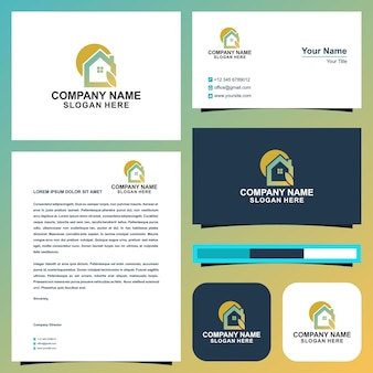 Home leaf logo and business card