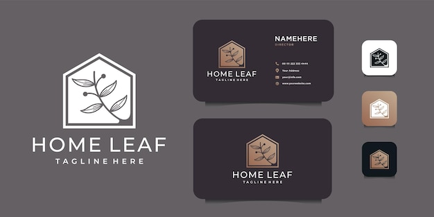 Home leaf negative beauty real estate logo design   concept.