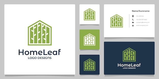 Home leaf tree negative space logo design