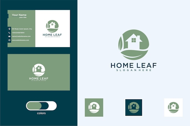 Home leaf with circle design logo and business card