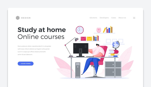 Home learning web distance landing page banner. male character computer watches online scientific courses. convenient education at home using digital apps study knowledge webinars vector template.