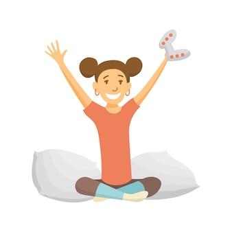 ホームレジャー。ビデオゲームをしている女の子。若者の余暇。家にいること。ソファの上の女性。一人で余暇を楽しんだ。