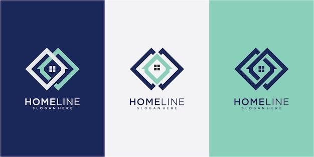 홈 라인 로고 디자인 영감. 부동산 로고 디자인 컨셉입니다. 홈 직사각형 로고 디자인