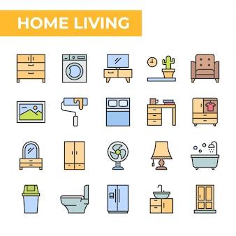 家庭生活のアイコンセット、塗りつぶされたカラースタイル