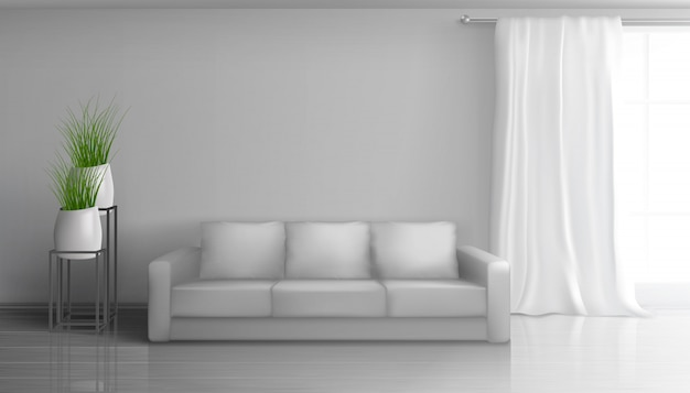 Home living room, apartment hall realistic vector sunny interior in classic style with empty grey wall behind soft sofa, long white curtain on window rod, glossy laminate on floor illustration