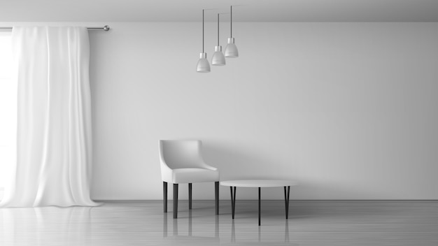 집 거실, 아파트, 집 홀 현실적인 벡터 햇볕이 잘 드는 인테리어. 빈 흰색 벽, 바닥에 광택 라미네이트, 창 막대 그림에 길고 흰 커튼 근처 의자와 커피 테이블