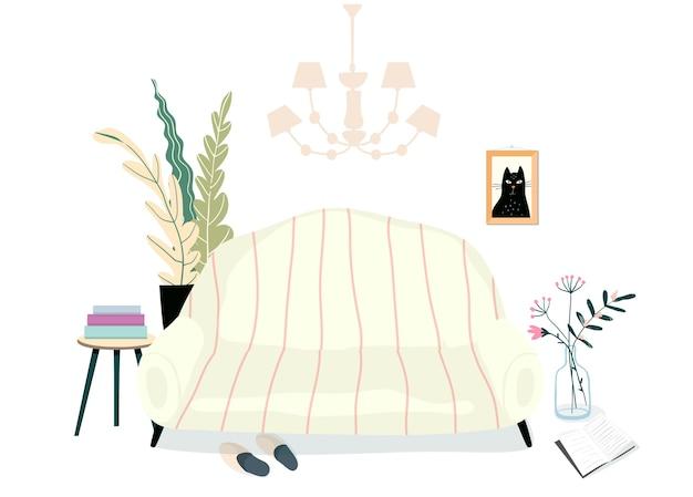 家具付きのホームリビングルームのインテリア。ソファやソファ、観葉植物、本やスリッパ、家庭的で暖かい部屋のイラスト。毎日読書リラックスできる場所。